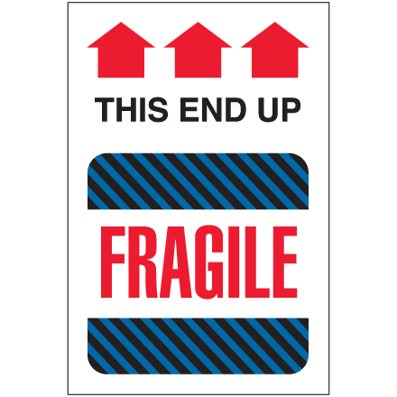 "4 x 6"" - ""This End Up - Fragile"" Labels"