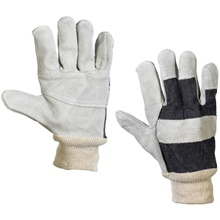 Leather Palm w/ Knit Wrist Gloves - Large