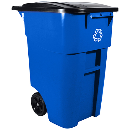 Rubbermaid<span class='rtm'>®</span> Recycling Container with Wheels - 50 Gallon, Blue