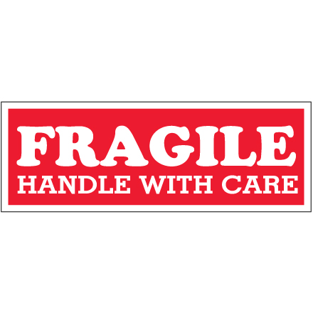 "1 <span class='fraction'>1/2</span> x 4"" - ""Fragile  - Handle With Care"" Labels"